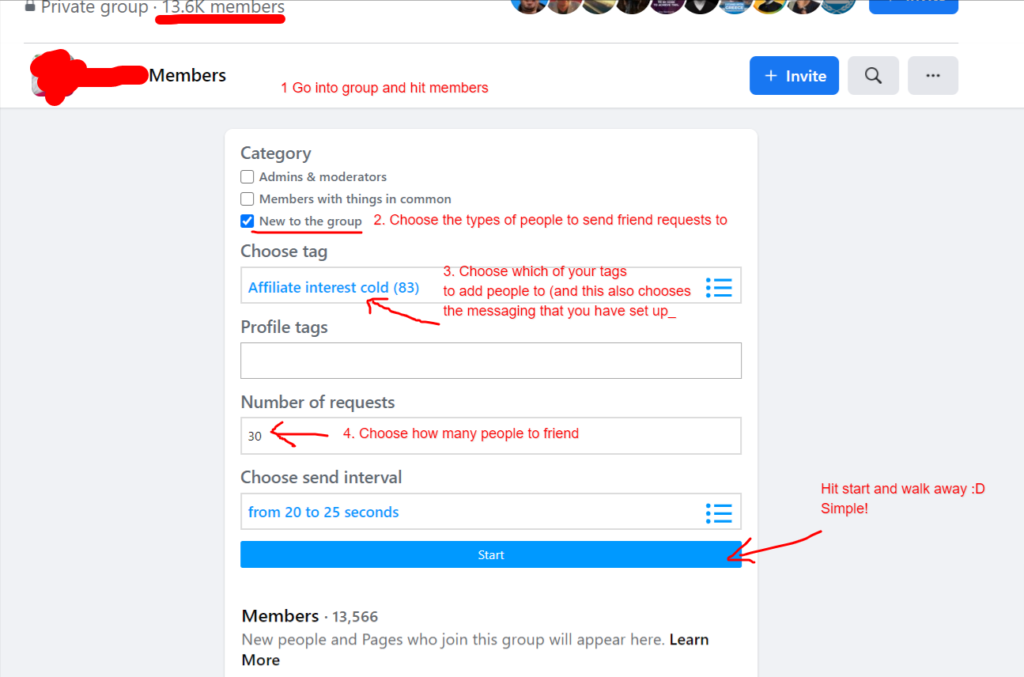 Commissions lead machine software friender settings for Facebook